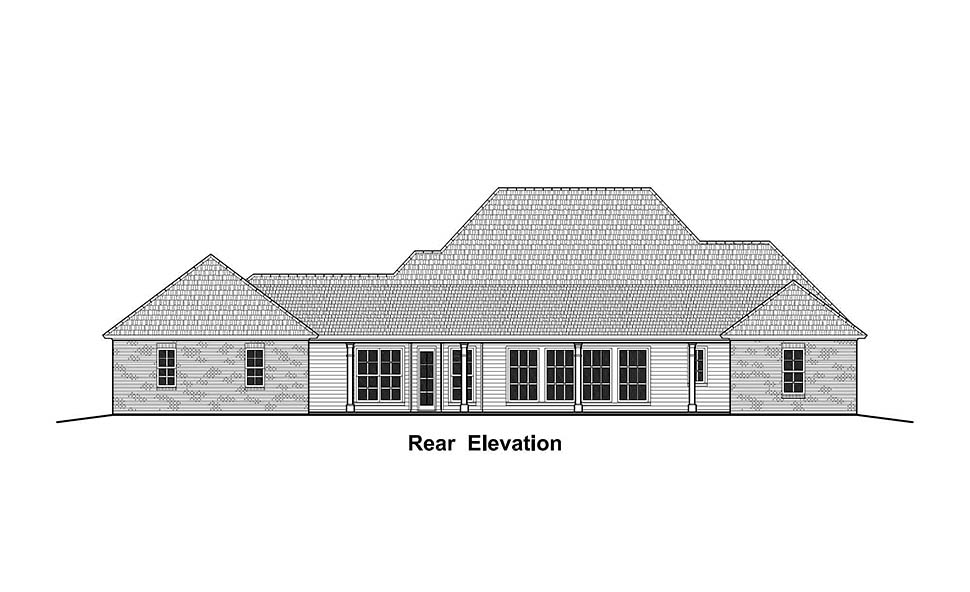 House Plan 40335 | Colonial Country French Country Southern Style Plan with 3161 Sq Ft, 3 Bedrooms, 3 Bathrooms, 2 Car Garage Rear Elevation