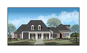 Country , French Country , Southern House Plan 40336 with 4 Beds, 5 Baths, 3 Car Garage Elevation