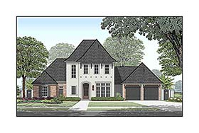House Plan 40338 | European French Country Southern Style Plan with 3630 Sq Ft, 4 Bedrooms, 5 Bathrooms, 3 Car Garage Elevation