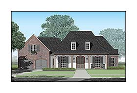 House Plan 40339 | Colonial Country French Country Southern Style Plan with 3779 Sq Ft, 4 Bedrooms, 5 Bathrooms, 3 Car Garage Elevation