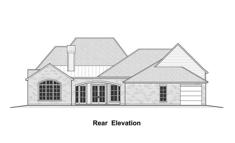 House Plan 40339 | Colonial Country French Country Southern Style Plan with 3779 Sq Ft, 4 Bedrooms, 5 Bathrooms, 3 Car Garage Rear Elevation