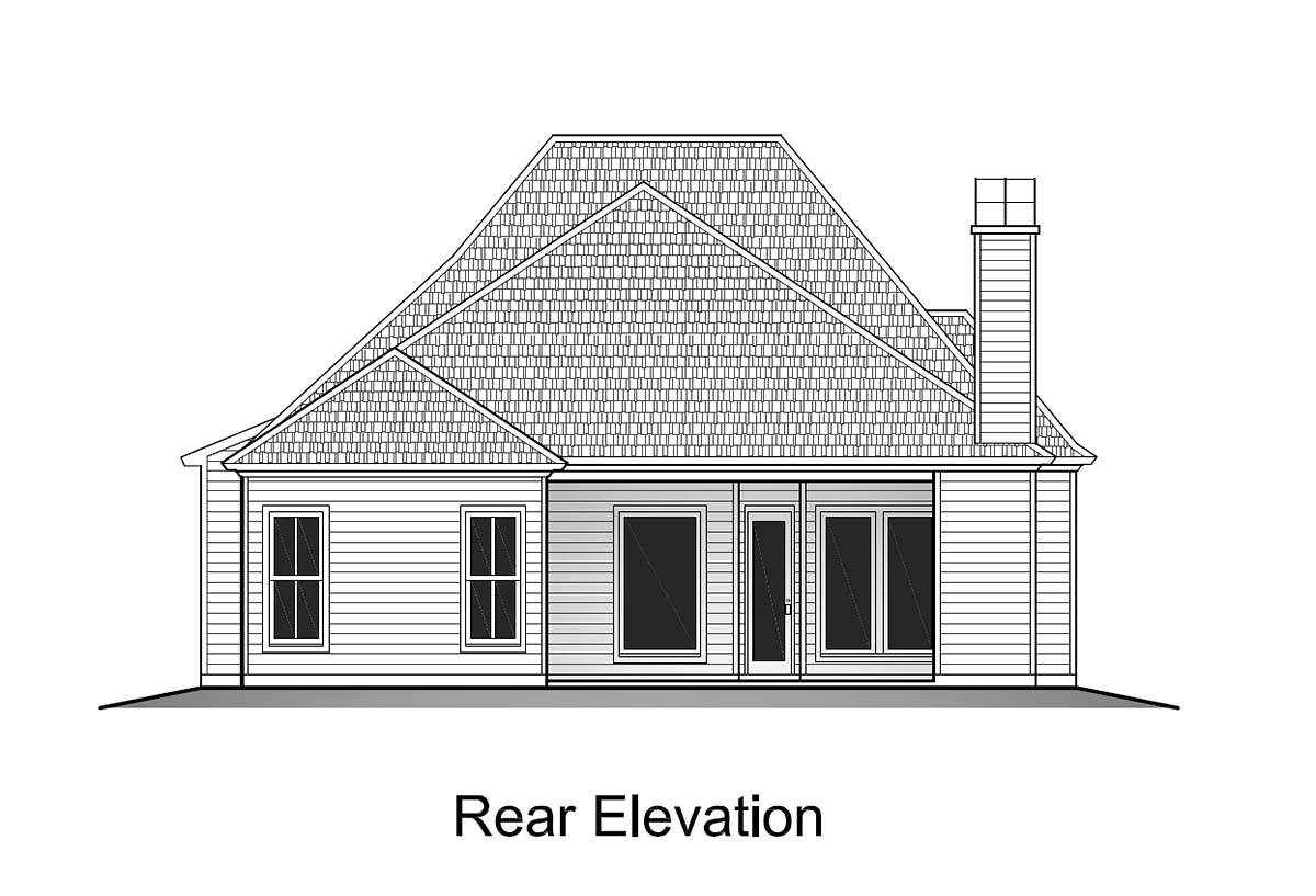 Cottage Rear Elevation of Plan 40340