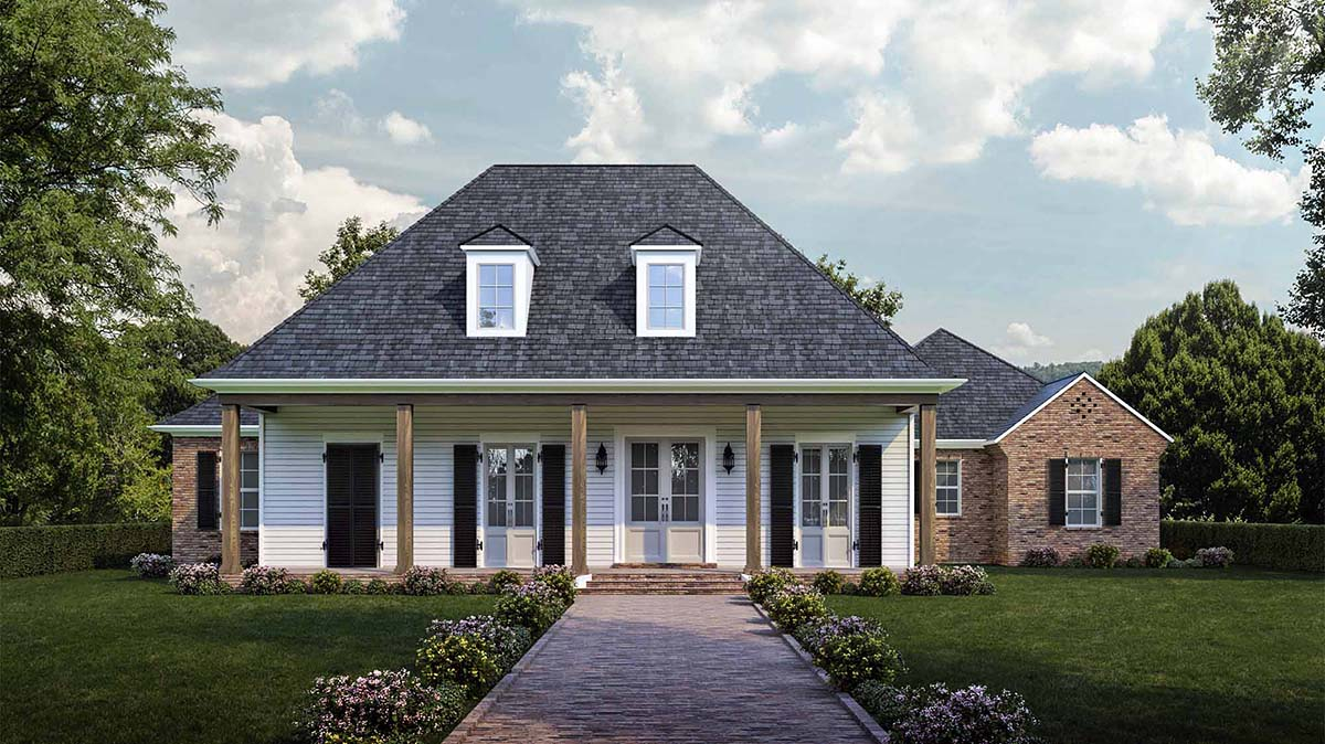 Colonial, Country, French Country, Southern House Plan 40344 with 4 Beds, 3 Baths, 2 Car Garage Front Elevation