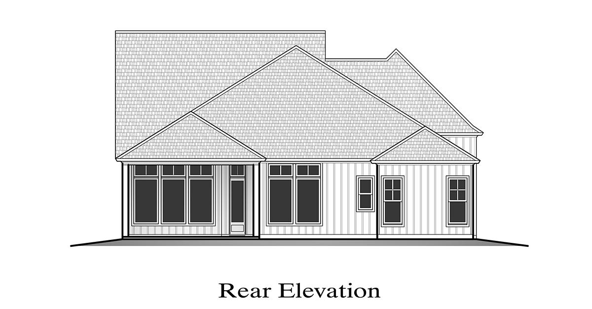 Farmhouse House Plan 40350 with 4 Beds, 3 Baths, 2 Car Garage Rear Elevation