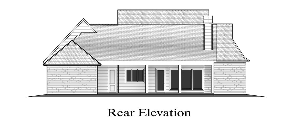 Farmhouse House Plan 40352 with 5 Beds, 4 Baths, 2 Car Garage Rear Elevation