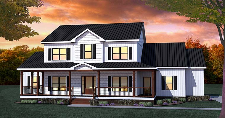 Country Farmhouse Traditional House Plan 40400 Elevation