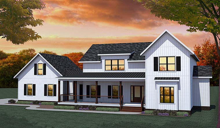 Country Farmhouse Southern Traditional House Plan 40401 Elevation