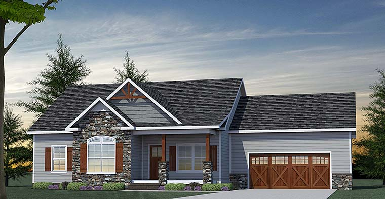 Country Craftsman Ranch Southern Traditional House Plan 40402 Elevation