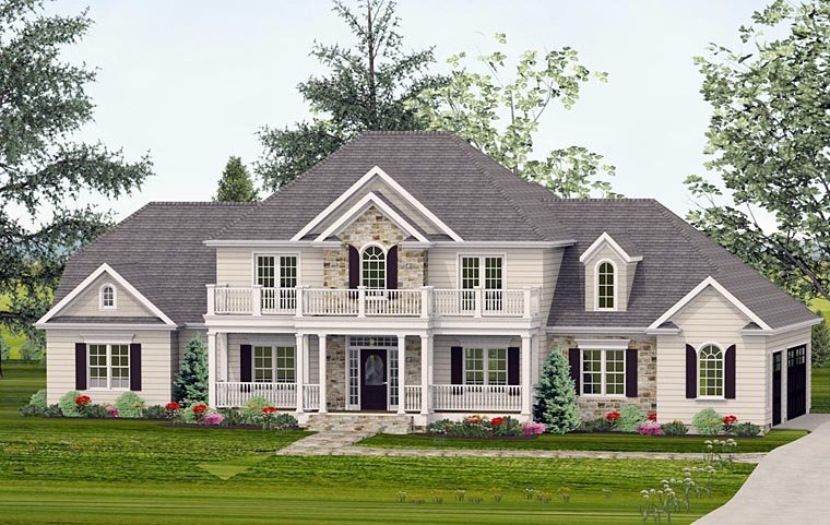 Colonial, Country, European, Southern House Plan 40501 with 4 Beds, 5 Baths, 3 Car Garage Elevation