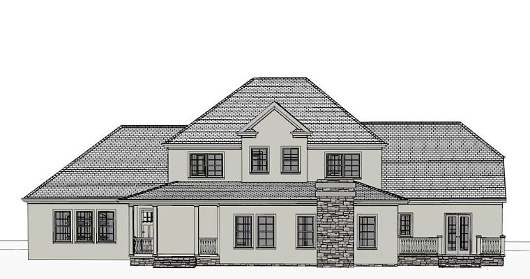 Colonial, Country, European, Southern House Plan 40501 with 4 Beds, 5 Baths, 3 Car Garage Rear Elevation
