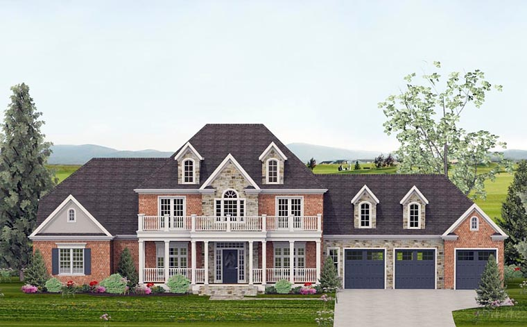 Colonial , Country , European , Southern , Traditional House Plan 40502 with 4 Beds, 5 Baths, 3 Car Garage Elevation