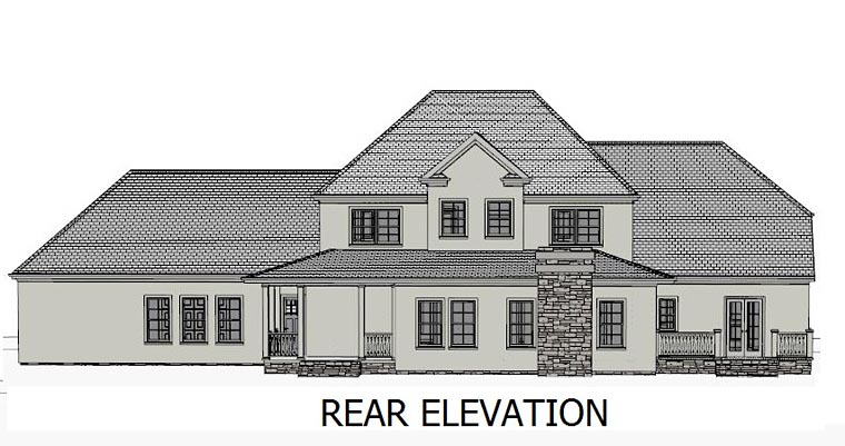 Colonial , Country , European , Southern , Traditional House Plan 40502 with 4 Beds, 5 Baths, 3 Car Garage Rear Elevation