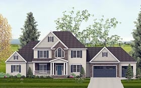 Traditional , Southern , European , Colonial House Plan 40505 with 4 Beds, 5 Baths, 3 Car Garage Elevation