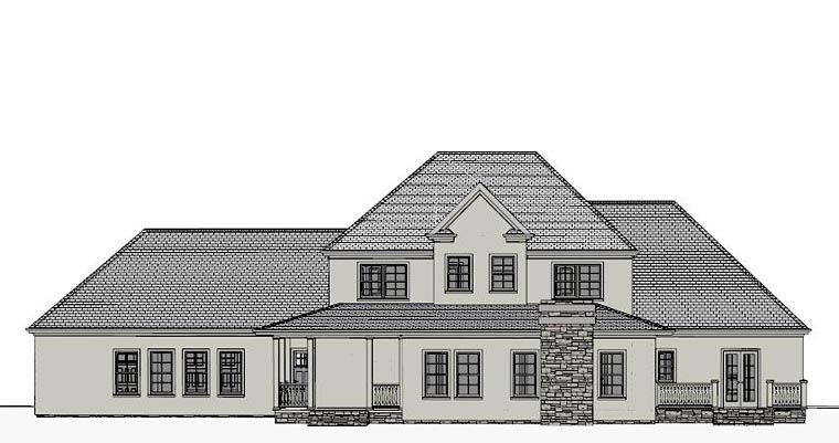Traditional , Southern , European , Colonial House Plan 40505 with 4 Beds, 5 Baths, 3 Car Garage Rear Elevation