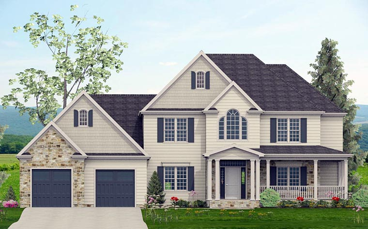 Colonial, Country, Southern, Traditional House Plan 40506 with 4 Beds, 4 Baths, 2 Car Garage Elevation