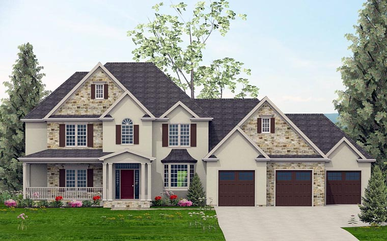 Colonial , Country , European , Southern House Plan 40507 with 4 Beds, 4 Baths, 3 Car Garage Elevation