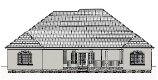 Country, Southern, Traditional House Plan 40512 with 4 Beds, 4 Baths, 2 Car Garage Rear Elevation