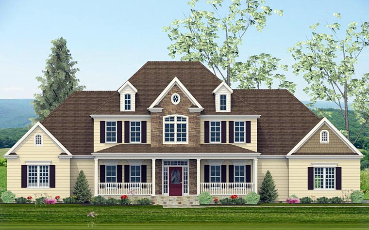 Colonial, Country, Southern, Traditional House Plan 40513 with 4 Beds, 5 Baths, 3 Car Garage Elevation