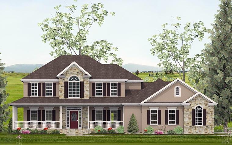 Colonial, Country, Southern, Traditional House Plan 40514 with 4 Beds, 4 Baths, 2 Car Garage Front Elevation