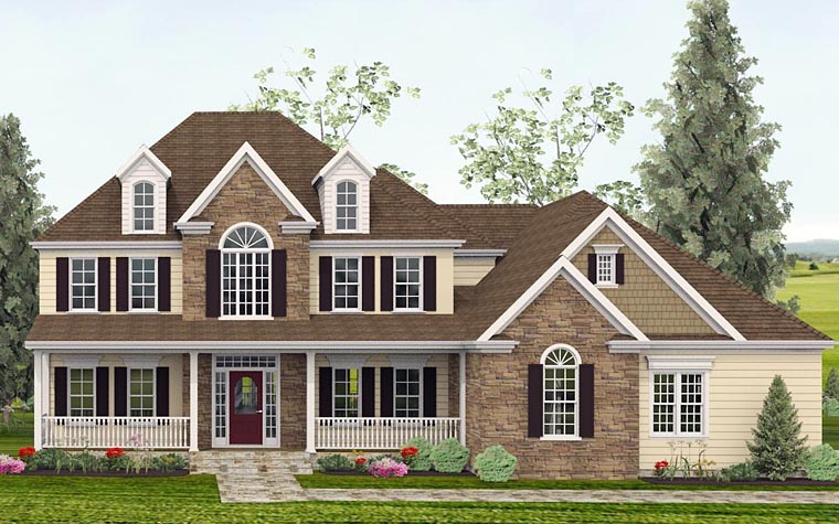 Colonial, Country, Southern, Traditional House Plan 40515 with 4 Beds, 4 Baths, 2 Car Garage Elevation