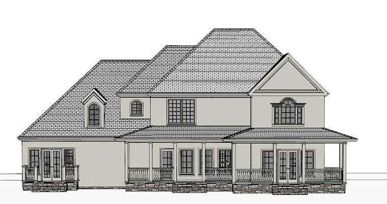 Colonial Country Southern Traditional House Plan 40515 Rear Elevation