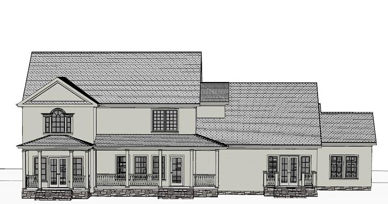 Colonial Southern House Plan 40516 Rear Elevation
