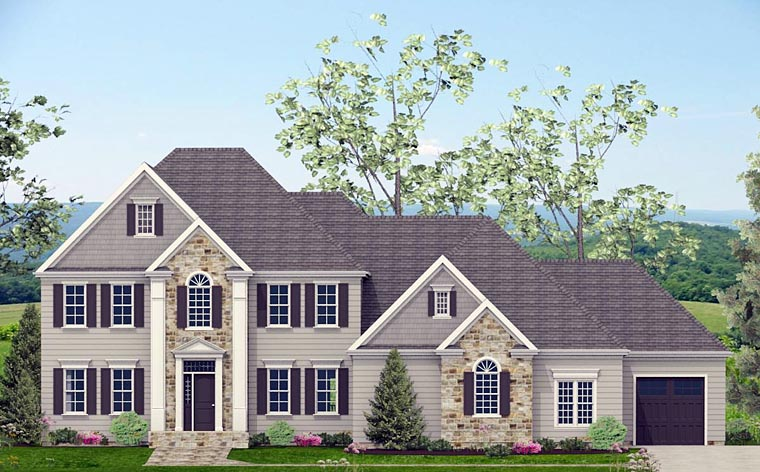 Colonial, Southern House Plan 40519 with 4 Beds, 4 Baths, 3 Car Garage Front Elevation