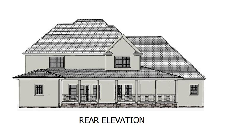 Traditional , Southern , European House Plan 40520 with 5 Beds, 4 Baths, 3 Car Garage Rear Elevation