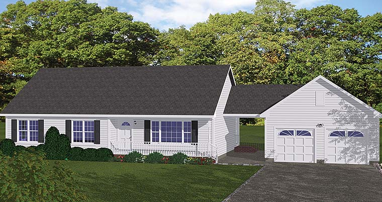 Country , Ranch , Southern , Traditional House Plan 40601 with 3 Beds, 1 Baths, 2 Car Garage Elevation