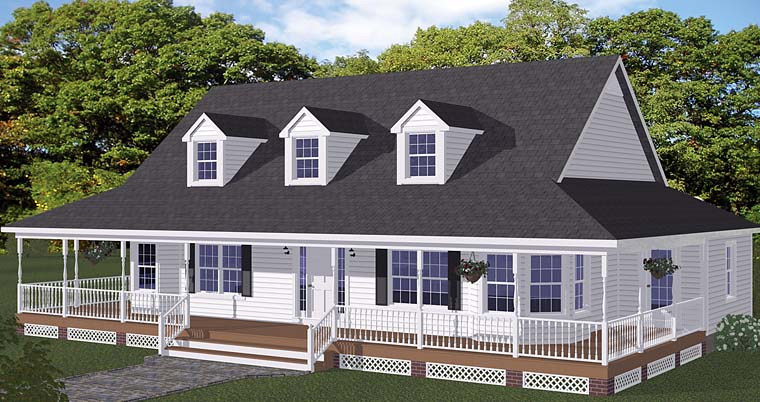 Country Farmhouse Southern Elevation of Plan 40603