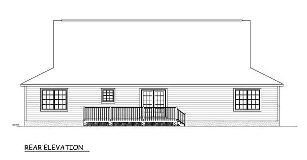 Country Farmhouse Southern Rear Elevation of Plan 40603