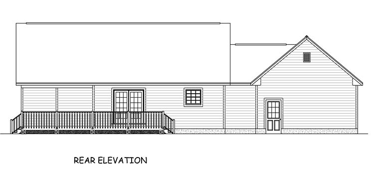 Country Ranch Traditional House Plan 40608 Rear Elevation