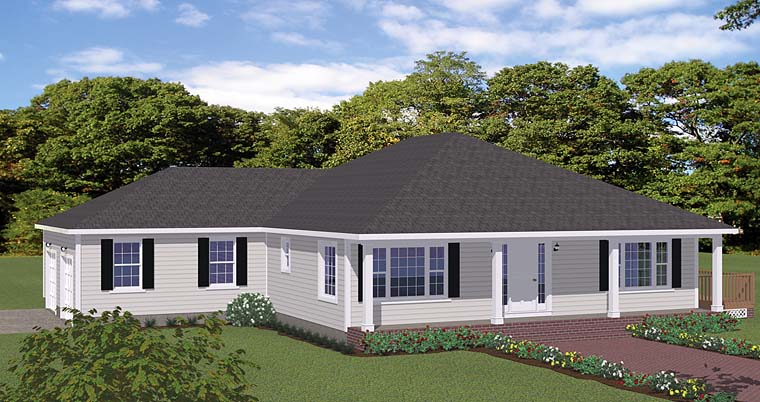 House Plan 40609 | European, Ranch, Traditional Style House Plan with 1880 Sq Ft, 3 Bed, 3 Bath, 2 Car Garage Elevation