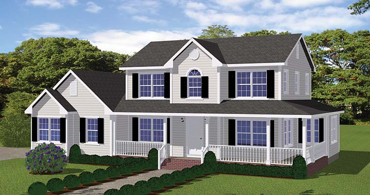 Country, Farmhouse, Southern, Traditional House Plan 40611 with 4 Beds, 3 Baths, 2 Car Garage Elevation