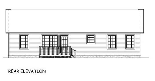 Ranch Traditional House Plan 40613 Rear Elevation