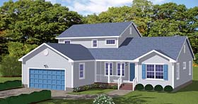 Traditional , Country House Plan 40614 with 4 Beds, 3 Baths, 2 Car Garage Elevation
