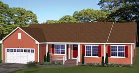 Ranch House Plan 40616 with 3 Beds, 2 Baths, 2 Car Garage Elevation