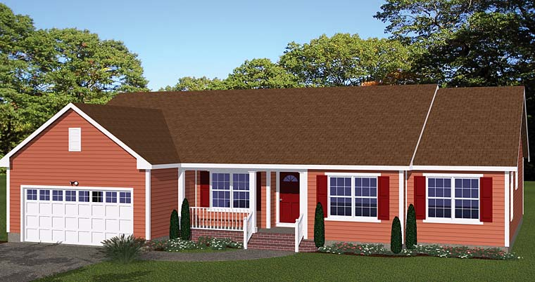 Ranch Elevation of Plan 40616