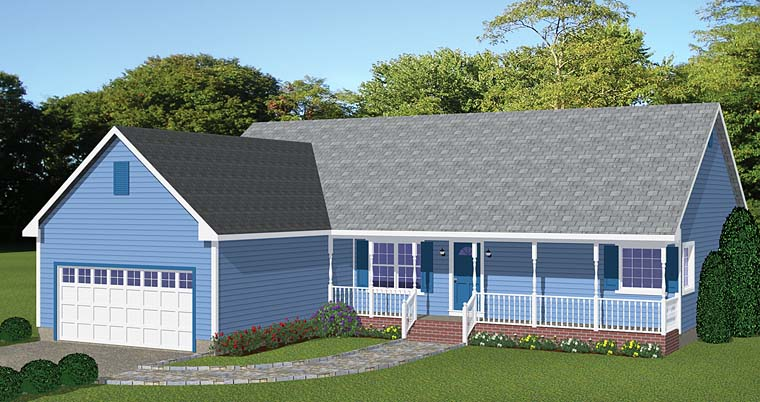 Country, Ranch House Plan 40620 with 3 Beds, 2 Baths, 2 Car Garage Front Elevation