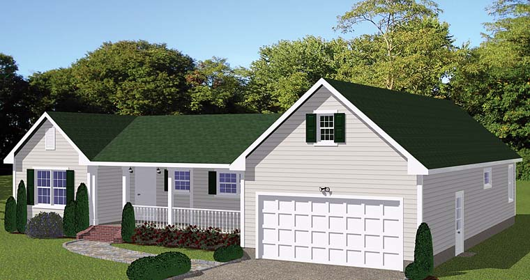 Country , Ranch House Plan 40621 with 3 Beds, 2 Baths, 2 Car Garage Elevation