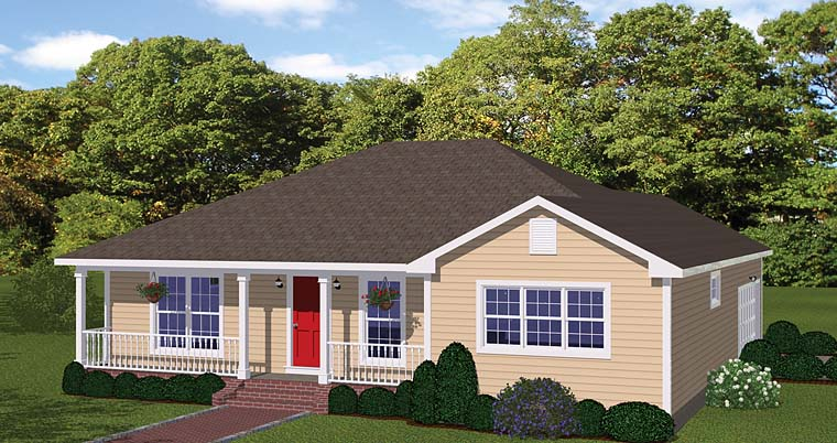 Ranch , Traditional House Plan 40624 with 3 Beds, 2 Baths, 2 Car Garage Elevation