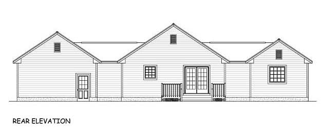 Country Ranch Southern Traditional House Plan 40626 Rear Elevation