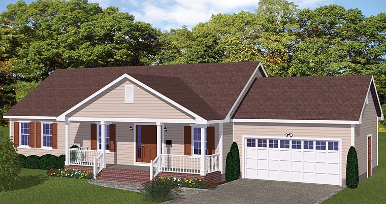 Traditional , Ranch , Country House Plan 40627 with 3 Beds, 2 Baths, 2 Car Garage Elevation