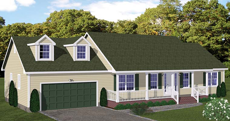 Country Ranch Southern Elevation of Plan 40631