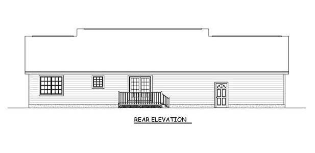 Country Ranch Southern Rear Elevation of Plan 40631