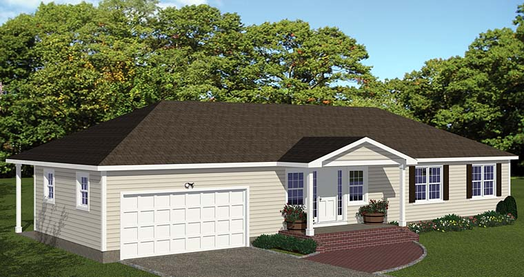 Ranch House Plan 40632 with 3 Beds, 2 Baths, 2 Car Garage Elevation