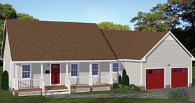 House Plan 40637 | Country Southern Traditional Style Plan with 1360 Sq Ft, 3 Bedrooms, 2 Bathrooms, 2 Car Garage Elevation