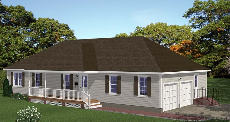 Ranch, Traditional House Plan 40638 with 3 Beds, 3 Baths, 2 Car Garage Front Elevation