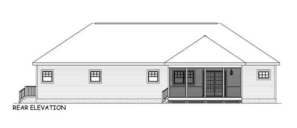 Ranch, Traditional House Plan 40638 with 3 Beds, 3 Baths, 2 Car Garage Rear Elevation