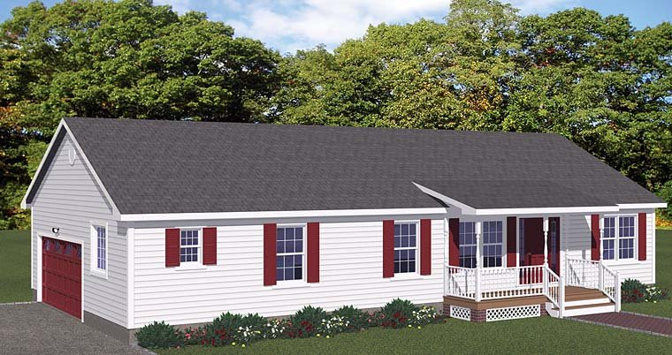 Ranch House Plan 40641 with 3 Beds, 2 Baths, 2 Car Garage Elevation
